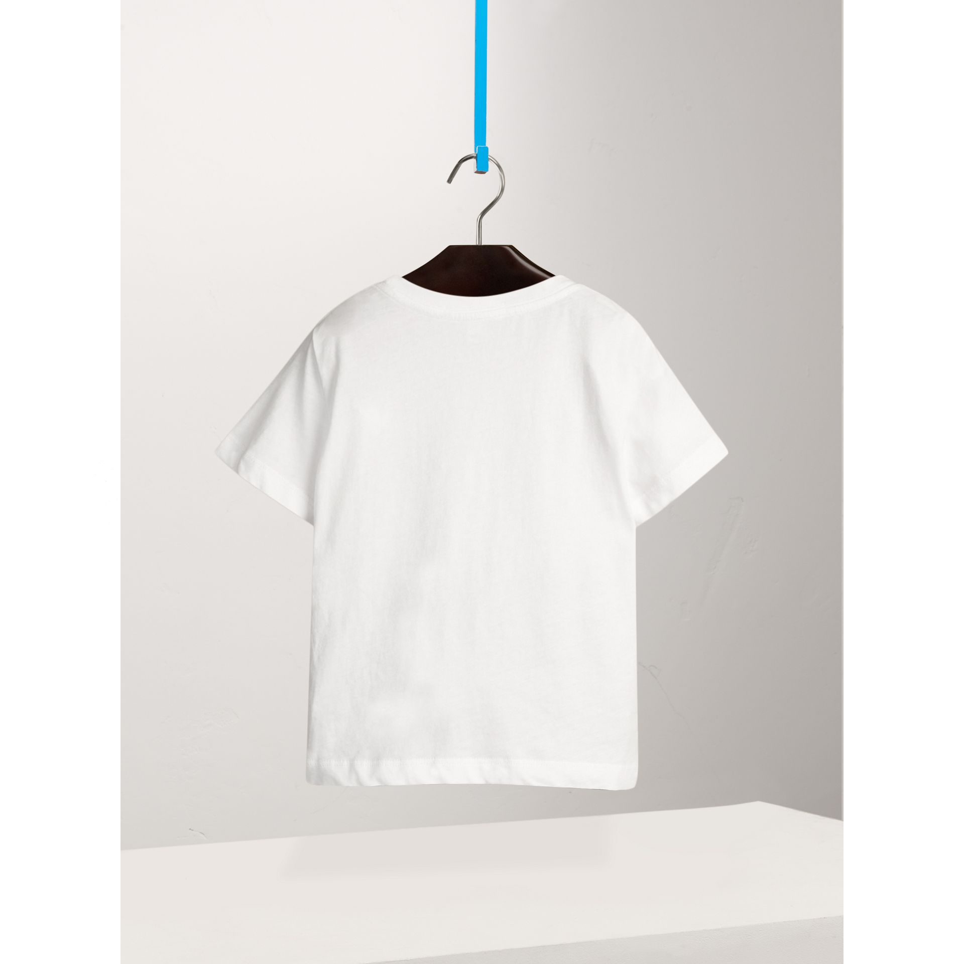 Check Pocket Cotton T-shirt in White - Boy | Burberry United Kingdom - gallery image 3