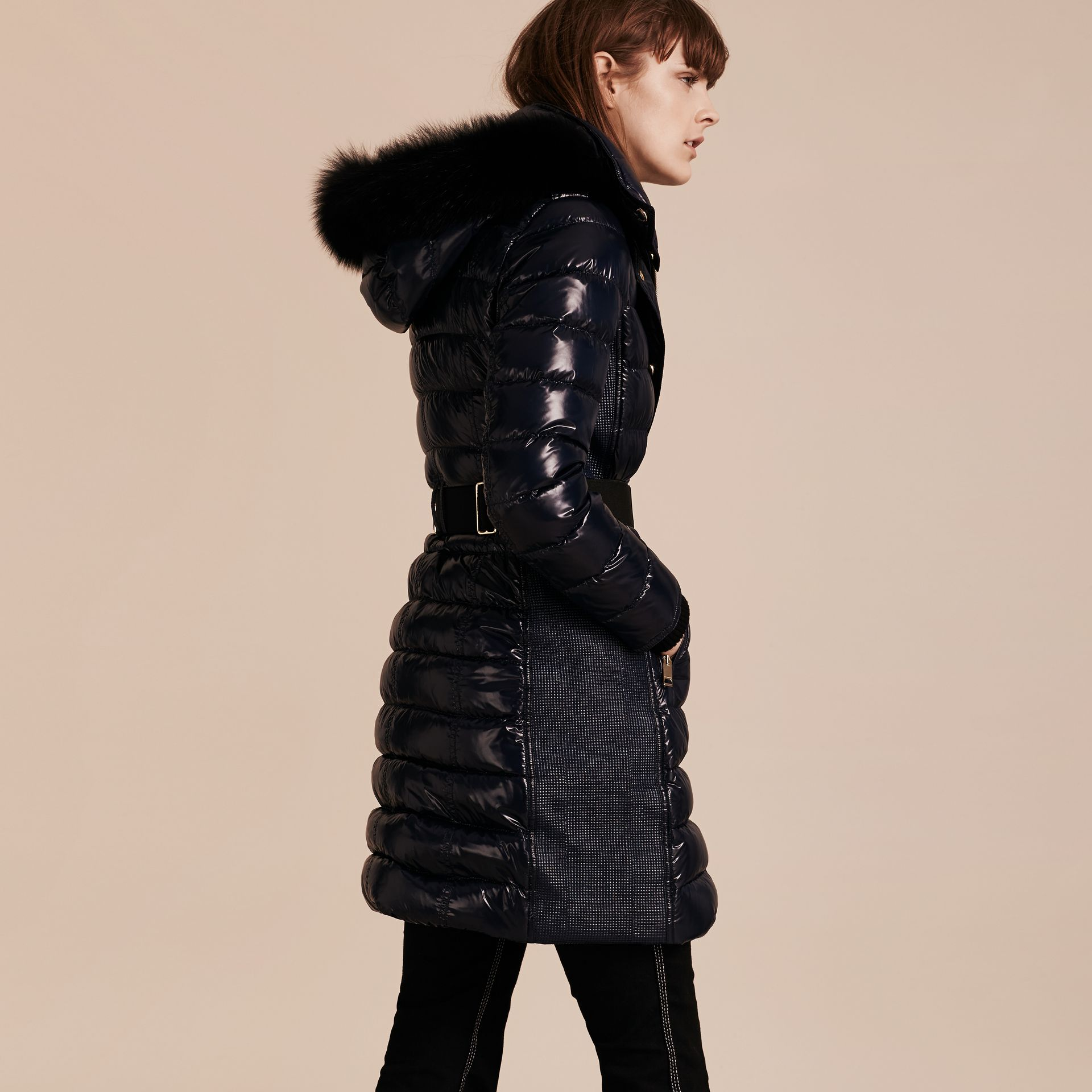 Down-Filled Coat with Detachable Fur-trimmed Hood in Navy - gallery image 3