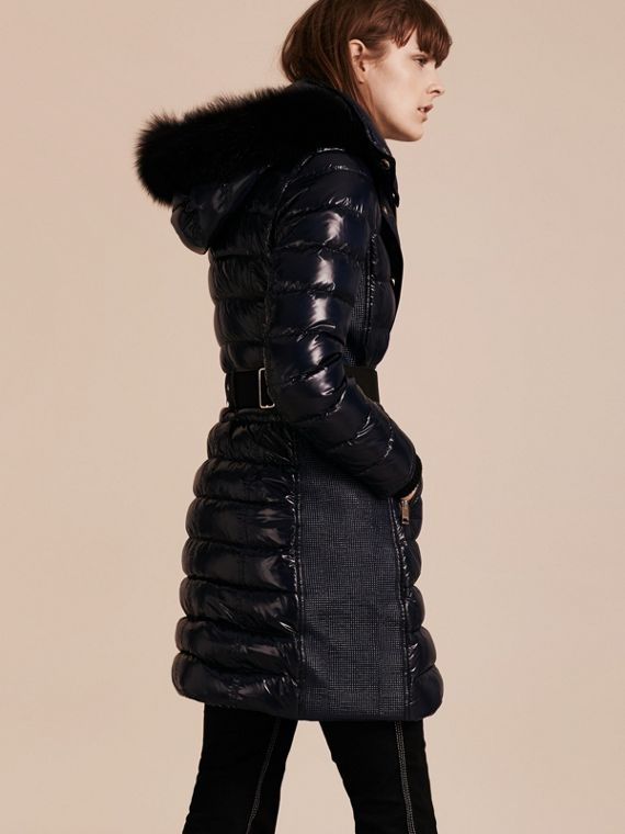 Down-Filled Coat with Detachable Fur-trimmed Hood in Navy - cell image 2