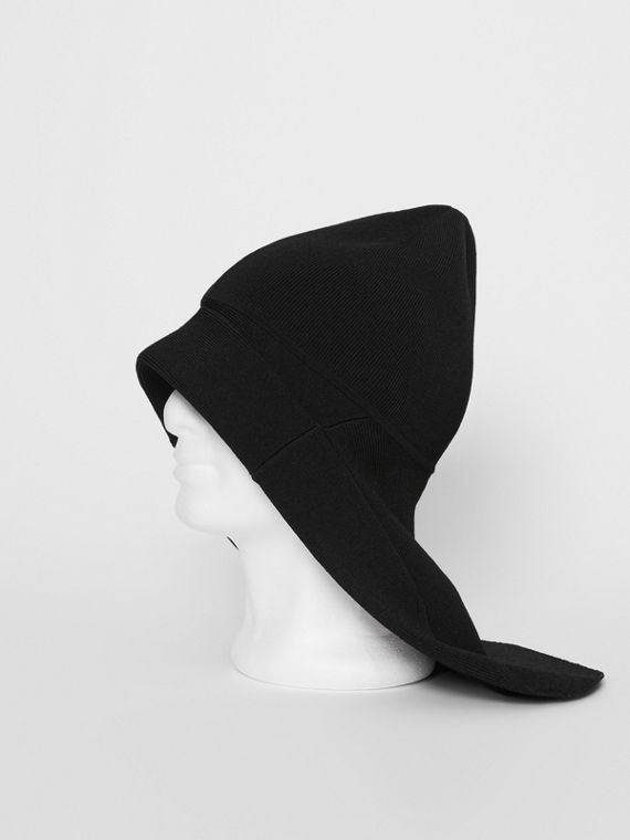 Logo Print Jersey Fisherman Hat in Black