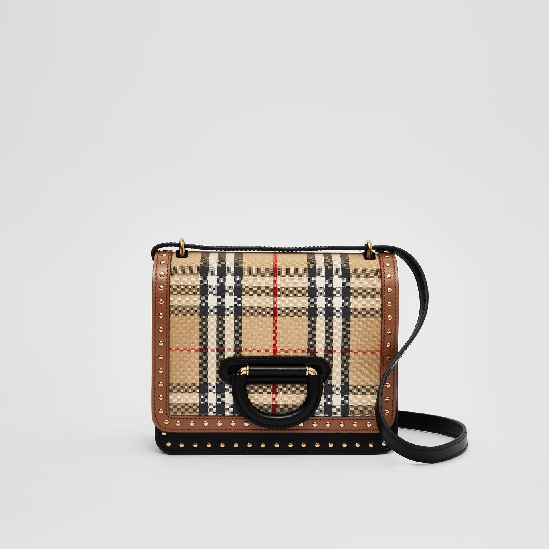 The Small Leather and Vintage Check D-ring Bag in Archive Beige - Women | Burberry - gallery image 0