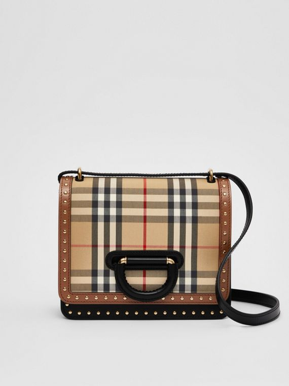 The Small D-Ring Bag aus Leder und Vintage Check-Gewebe (Vintage-beige)