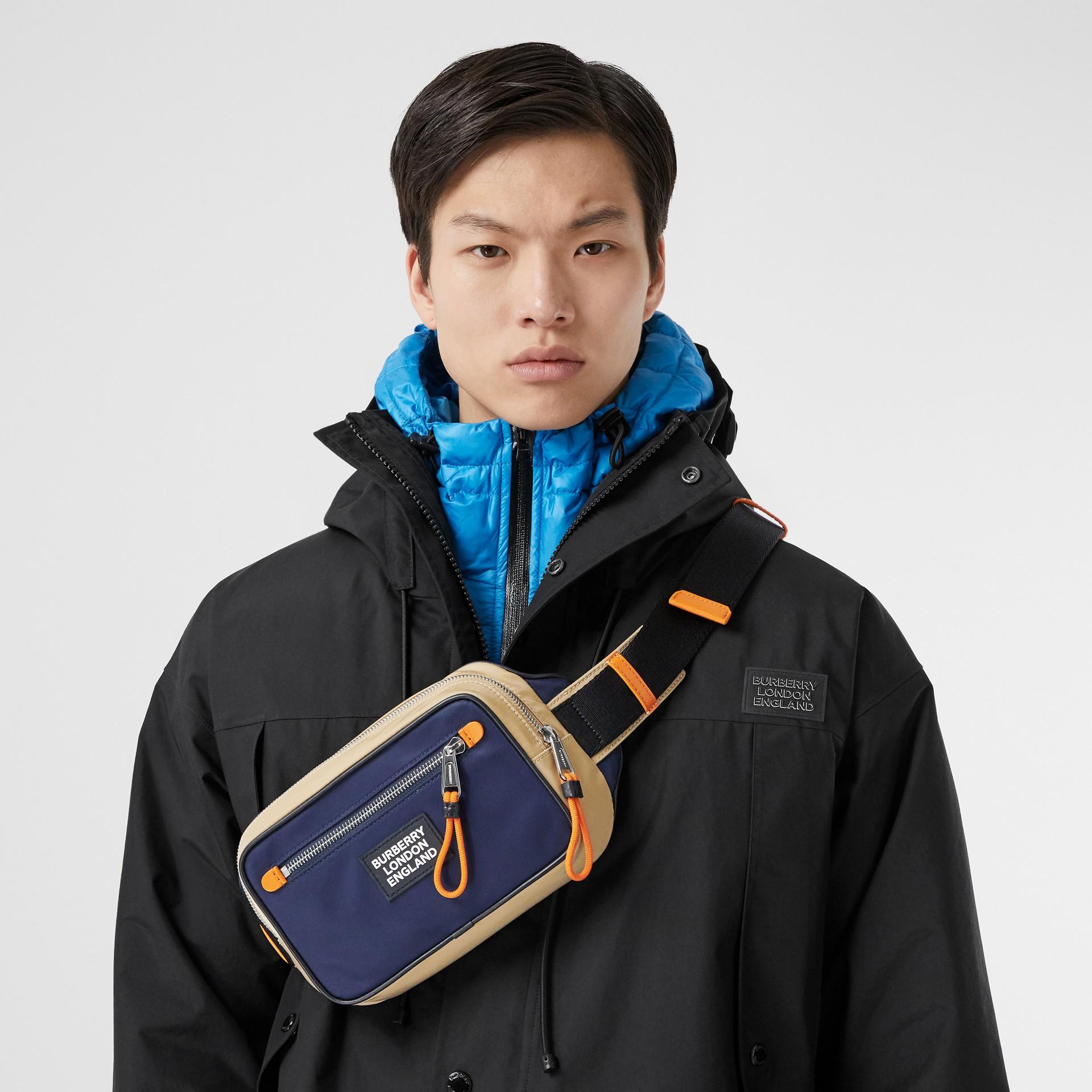 Logo Appliqué Two-tone ECONYL® Bum Bag in Regency Blue/bright Orange | Burberry United Kingdom - gallery image 3