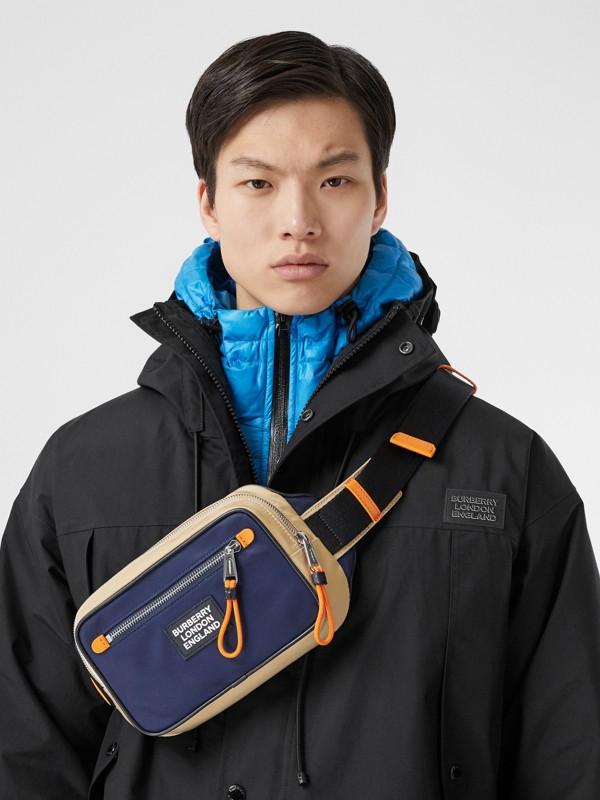 Logo Appliqué Two-tone ECONYL® Bum Bag in Regency Blue/bright Orange | Burberry United Kingdom - cell image 3
