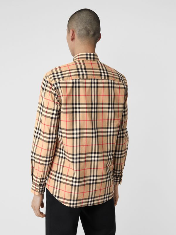 Vintage Check Cotton Poplin Shirt in Archive Beige - Men | Burberry - cell image 2