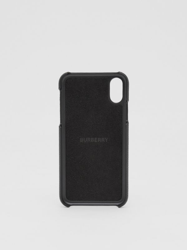 Contrast Logo Graphic Leather iPhone X/XS Case in Black | Burberry Singapore - cell image 3
