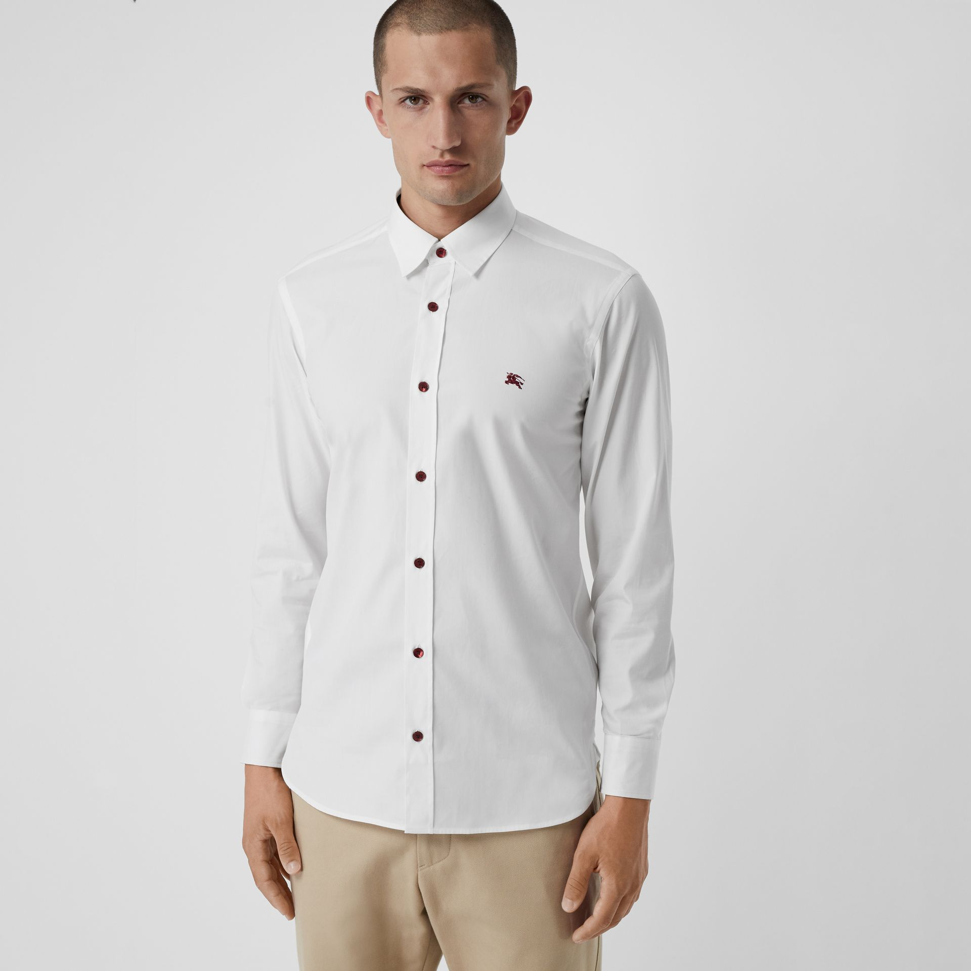 Contrast Button Stretch Cotton Shirt in White - Men | Burberry Singapore - gallery image 0
