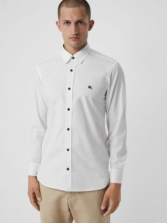 Contrast Button Stretch Cotton Shirt in White