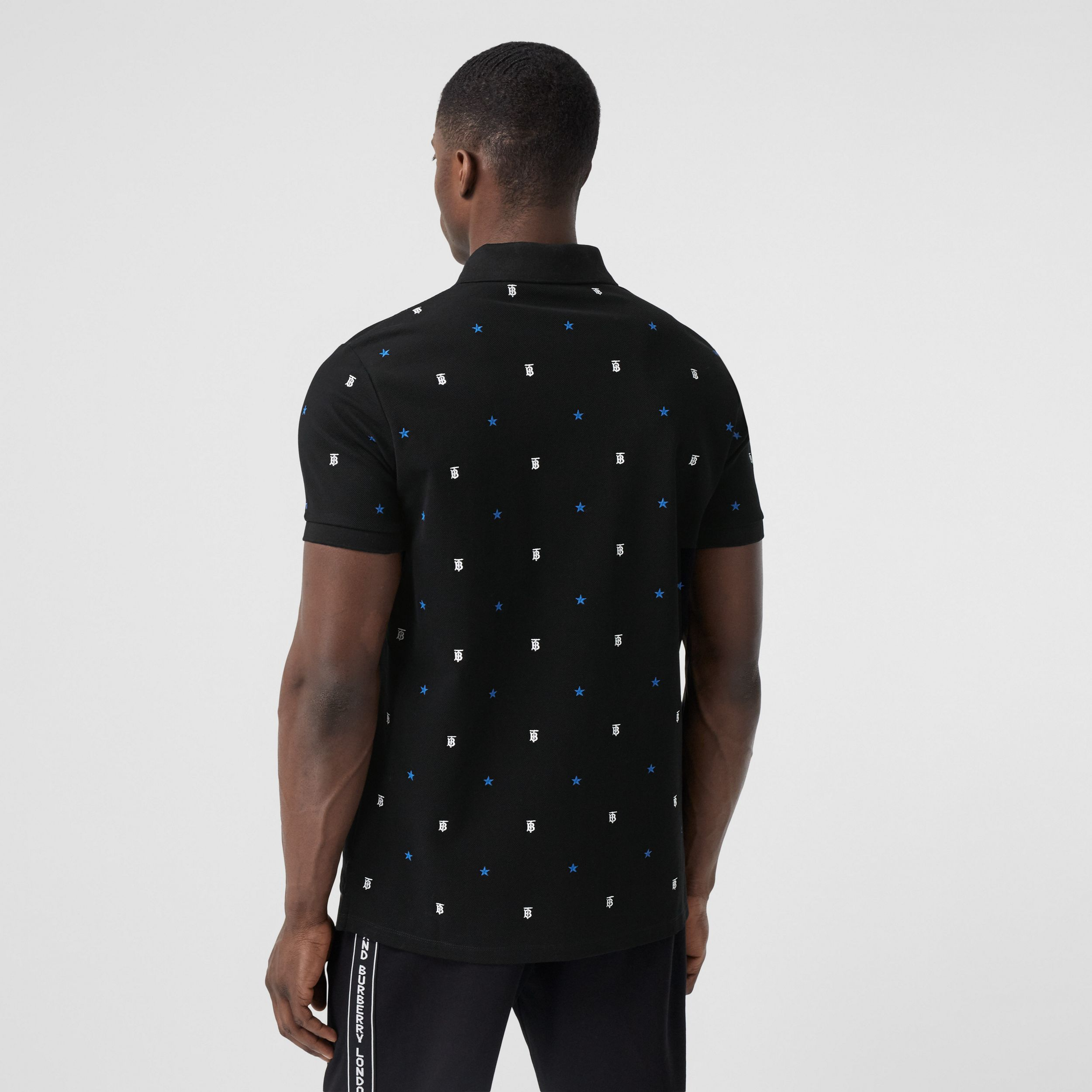 Star and Monogram Motif Cotton Piqué Polo Shirt in Black - Men | Burberry - 3
