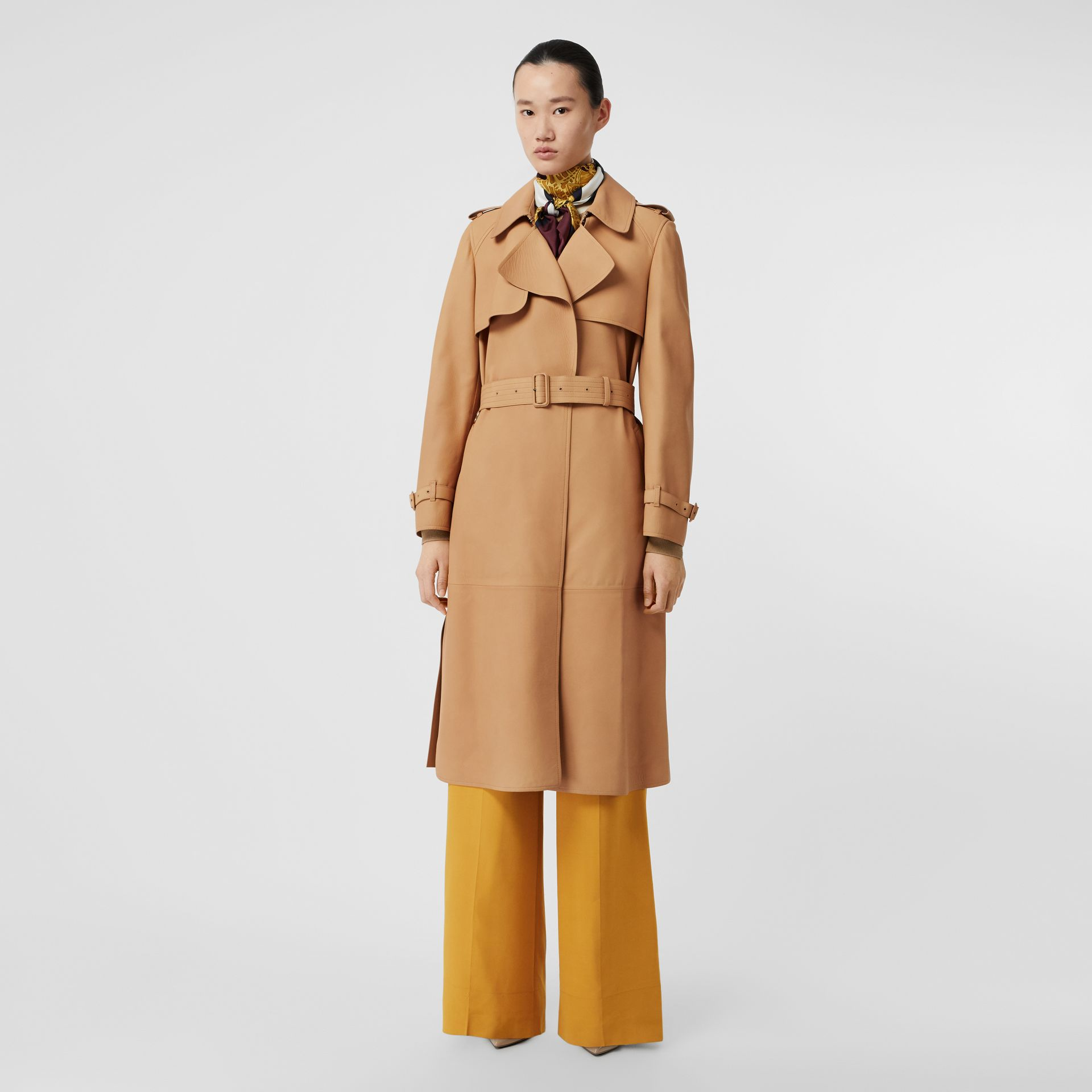 Lambskin Wrap Trench Coat in Caramel - Women | Burberry - gallery image 0
