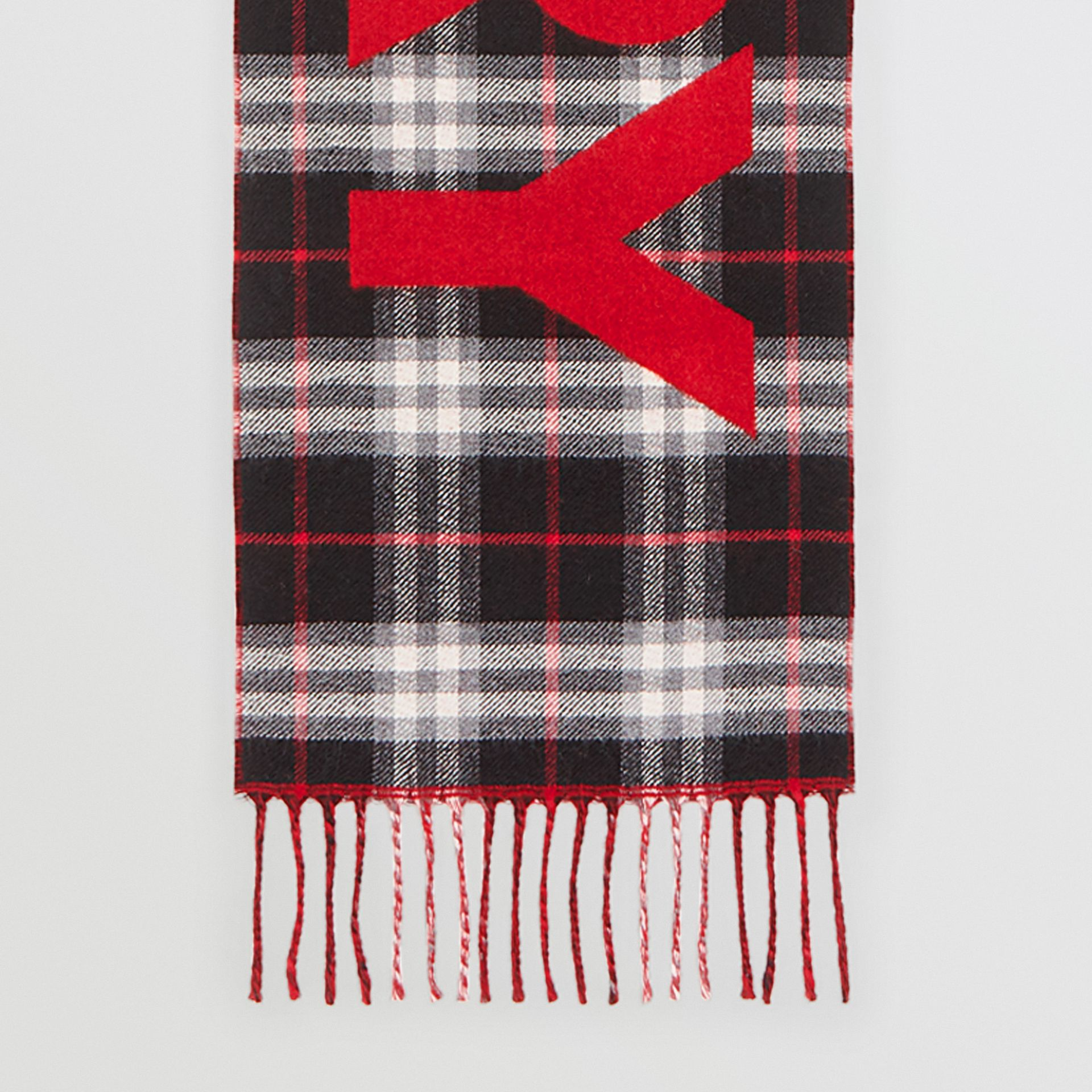 Logo Detail Vintage Check Wool Jacquard Scarf in Black - Children | Burberry Canada - gallery image 2
