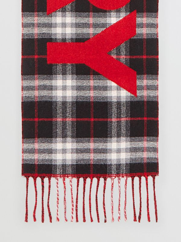Logo Detail Vintage Check Wool Jacquard Scarf in Black - Children | Burberry Australia - cell image 2