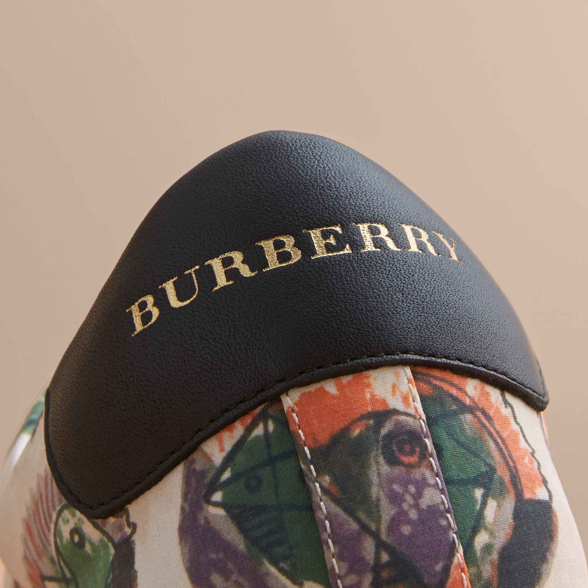Pallas Heads Print Cotton Leather Trainers in Natural White - Men | Burberry - gallery image 2