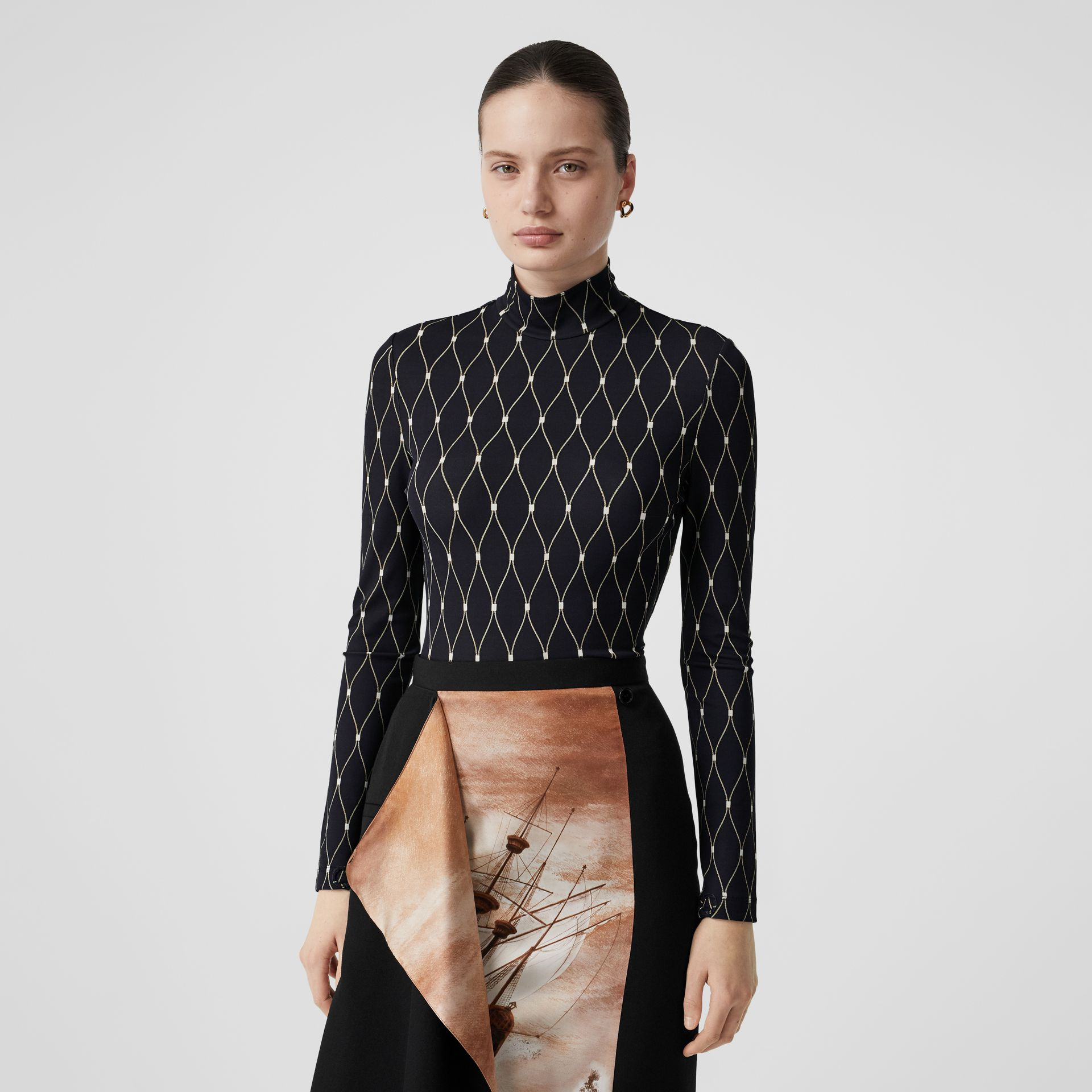Net Print Stretch Jersey Turtleneck Top in Black - Women | Burberry - gallery image 0