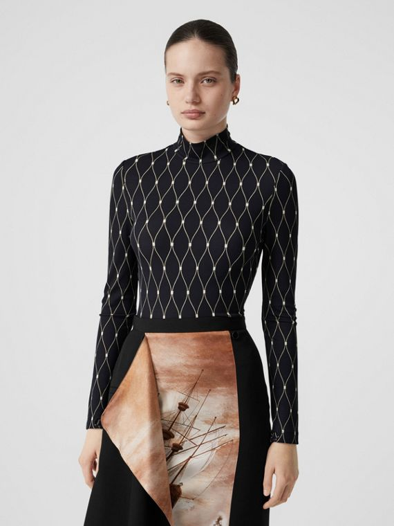 Net Print Stretch Jersey Turtleneck Top in Black