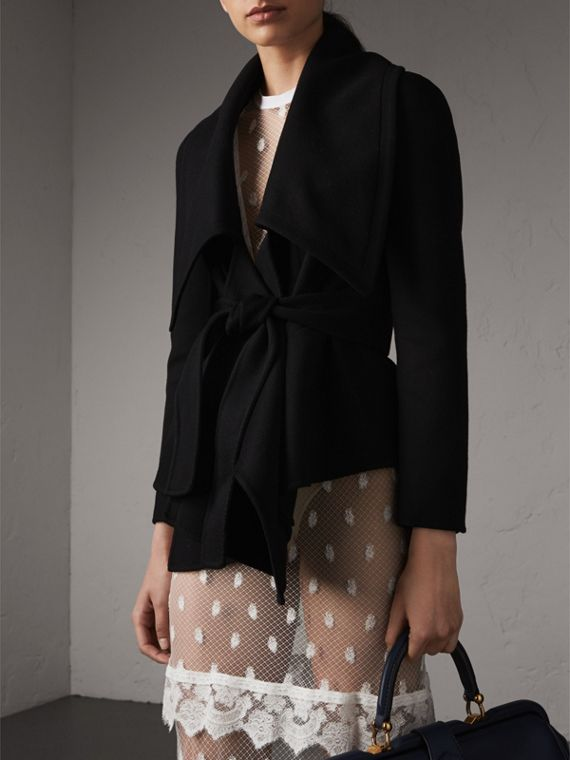 Double-faced Wool Cashmere Wrap Jacket in Black - Women | Burberry - cell image 3