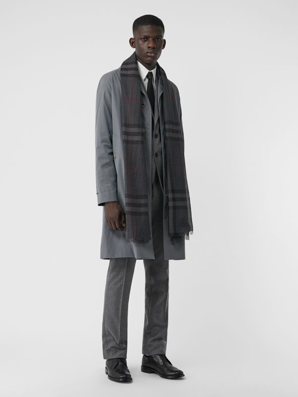 Lightweight Check Wool and Silk Scarf in Charcoal | Burberry - cell image 3