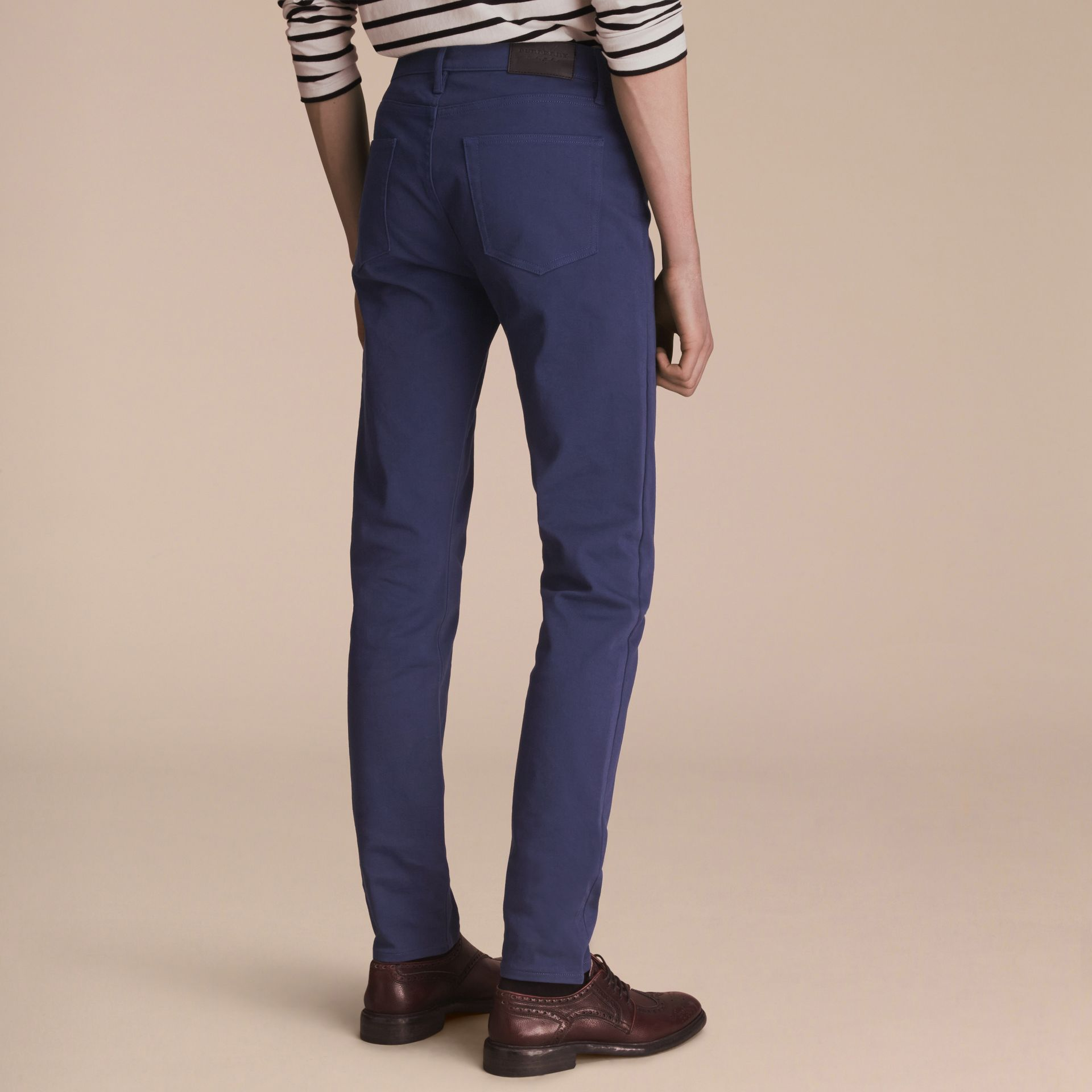Slim Fit Stretch Japanese Denim in Bright Navy Blue - Men | Burberry - gallery image 2