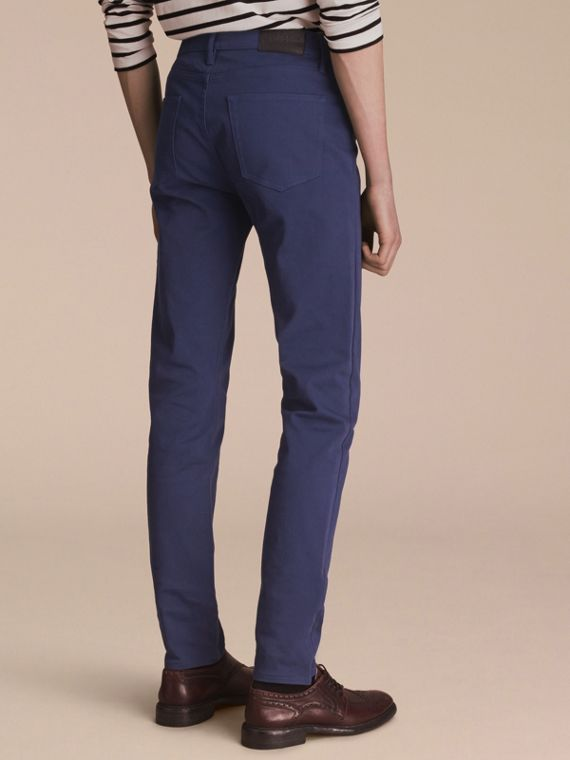 Slim Fit Stretch Japanese Denim in Bright Navy Blue - Men | Burberry - cell image 2
