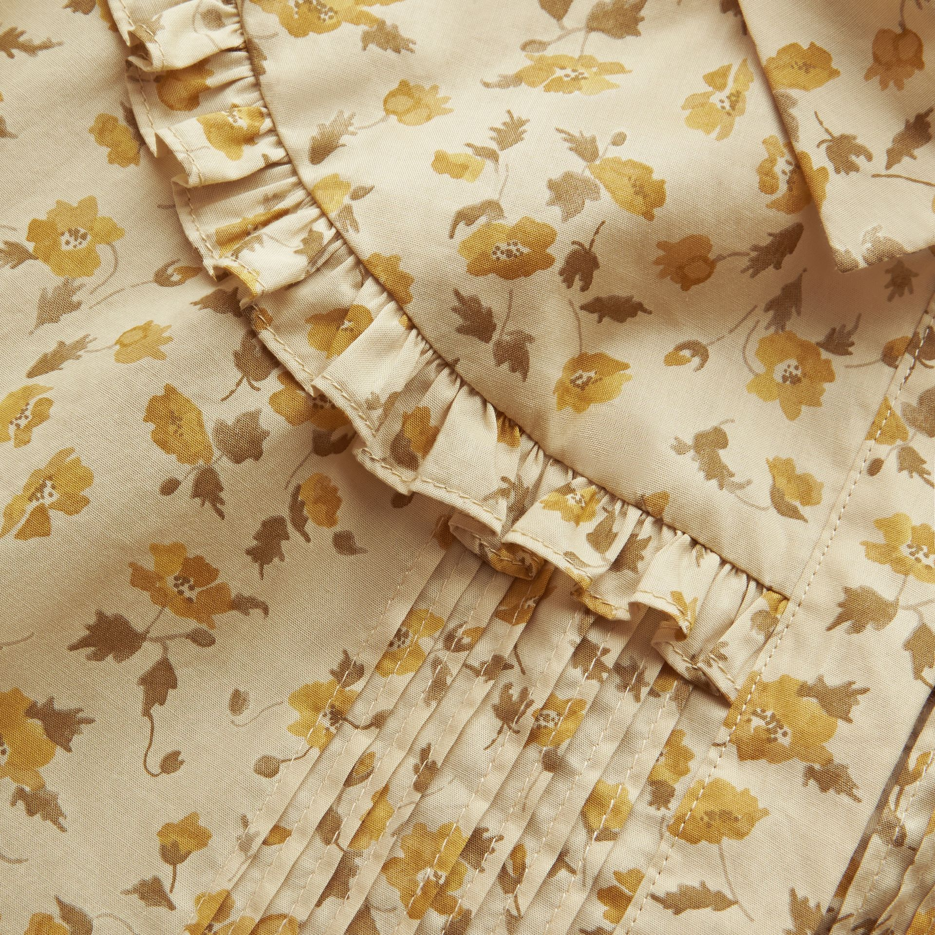 Ruffle Yoke Floral Print Cotton Shirt in Chalk Yellow - Women | Burberry - gallery image 1