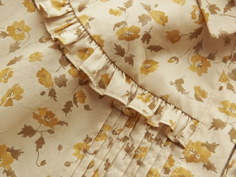 Ruffle Yoke Floral Print Cotton Shirt in Chalk Yellow - Women | Burberry - cell image 1