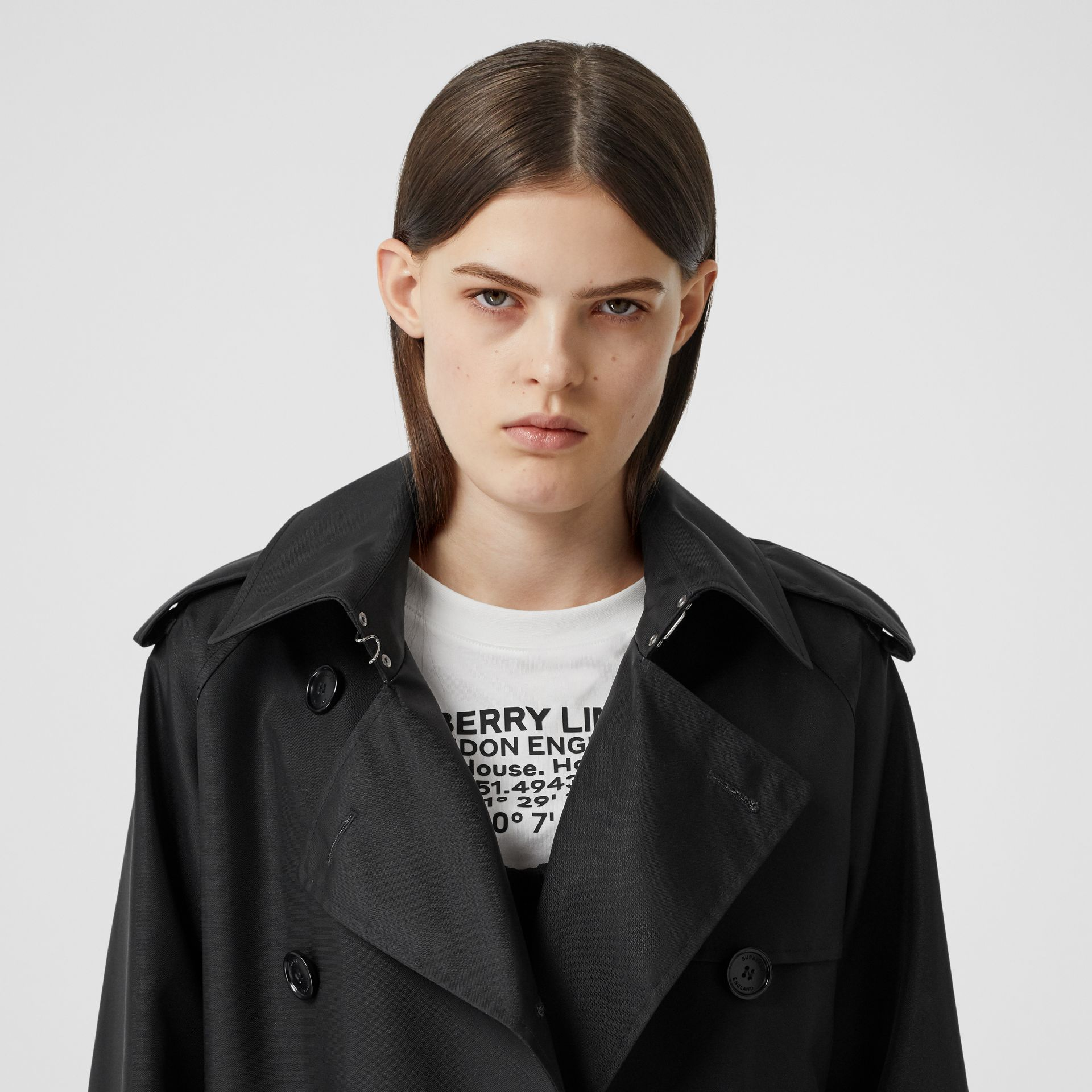 ECONYL® Trench Coat with Detachable Leather Jacket in Black - Women | Burberry - gallery image 7