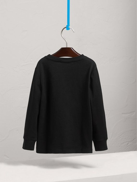 Long-sleeve Check Pocket Cotton T-shirt in Black - Boy | Burberry Singapore - cell image 3
