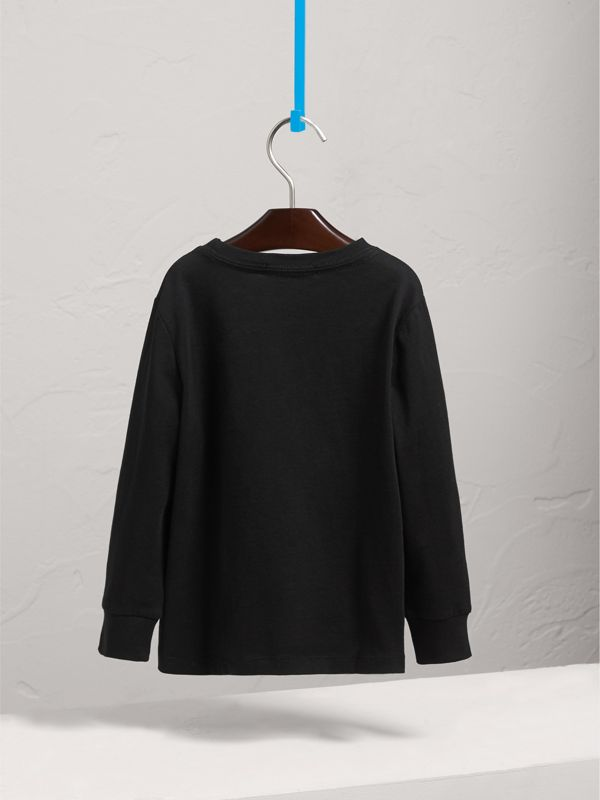 Long-sleeve Check Pocket Cotton T-shirt in Black - Boy | Burberry - cell image 3