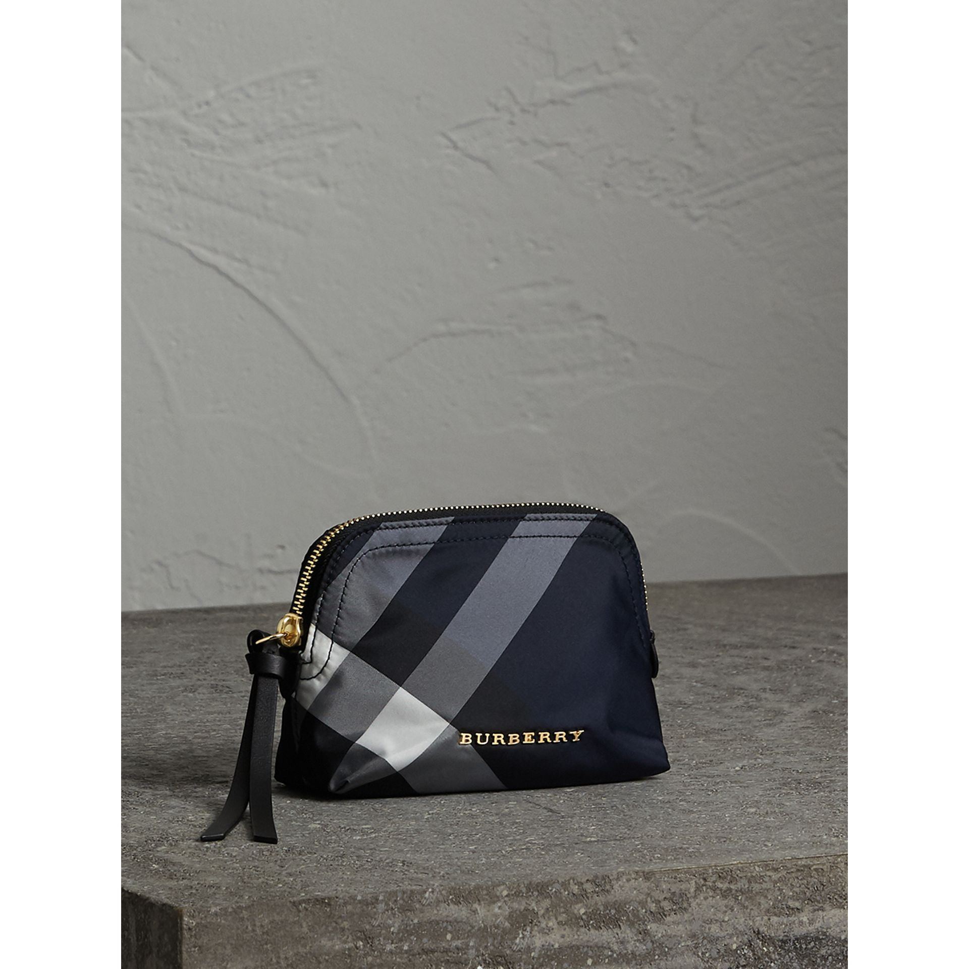 Small Zip-top Check Pouch in Indigo Blue - Women | Burberry - gallery image 5