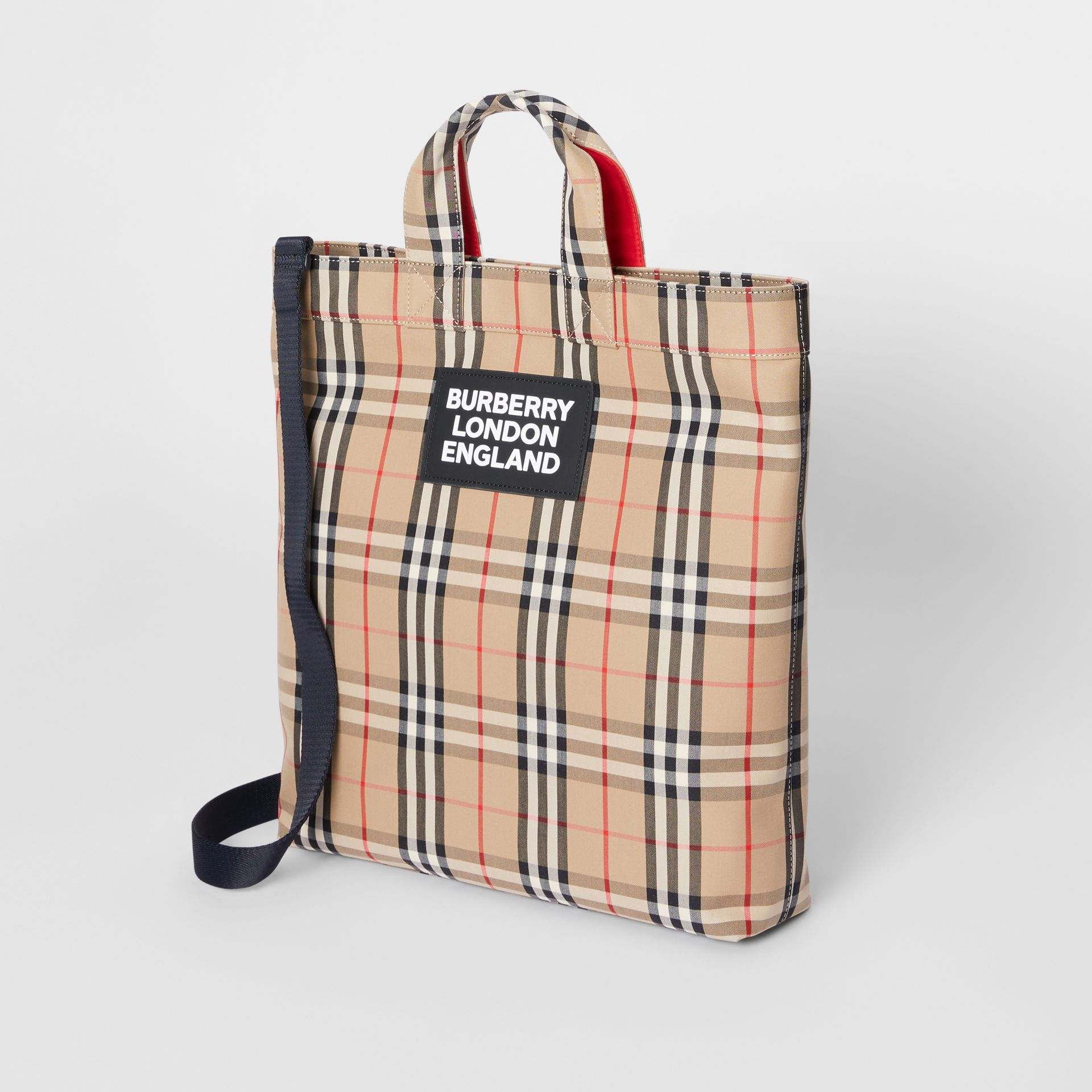 Logo Appliqué Vintage Check Cotton Blend Tote in Archive Beige - Men | Burberry Canada - gallery image 2