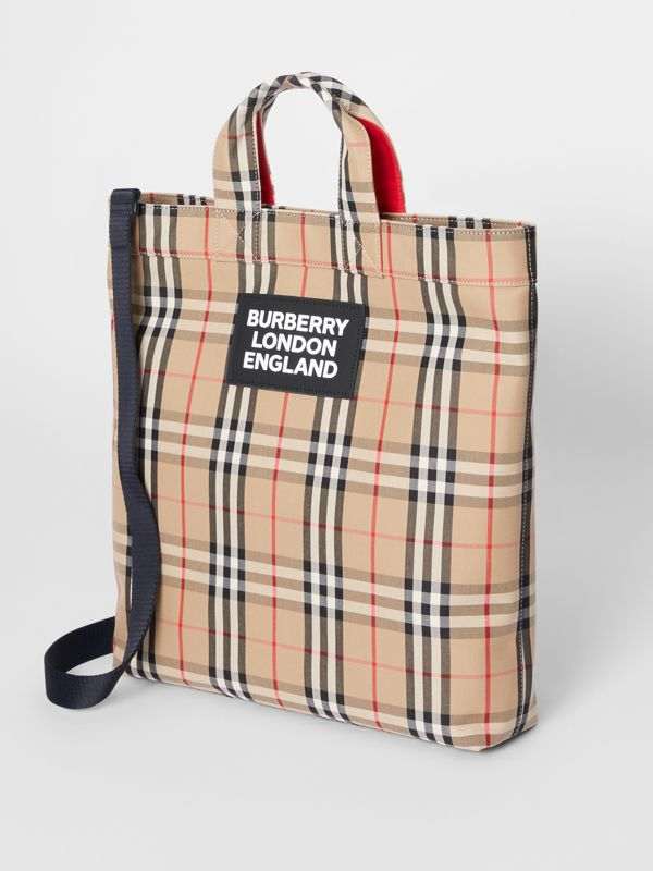 Logo Appliqué Vintage Check Cotton Blend Tote in Archive Beige - Men | Burberry Canada - cell image 2