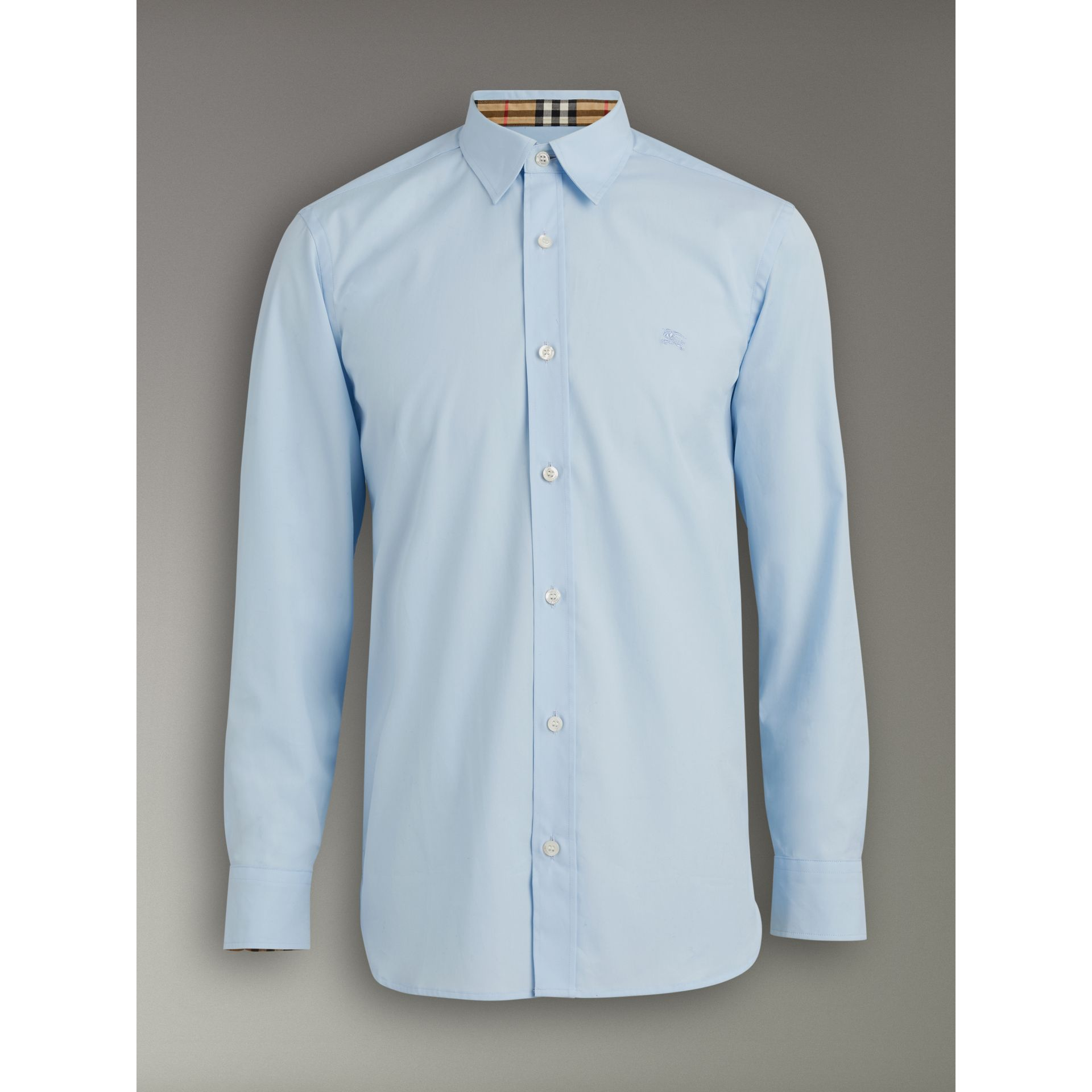Check Cuff Stretch Cotton Poplin Shirt in Pale Blue - Men | Burberry - gallery image 3