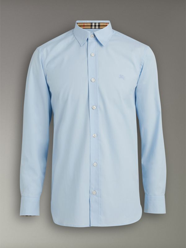 Check Cuff Stretch Cotton Poplin Shirt in Pale Blue - Men | Burberry - cell image 3