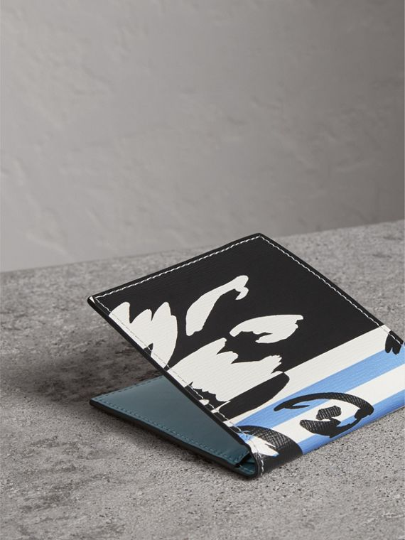Floral Stripe Print International Bifold Wallet in Patchwork - Men | Burberry Singapore - cell image 2