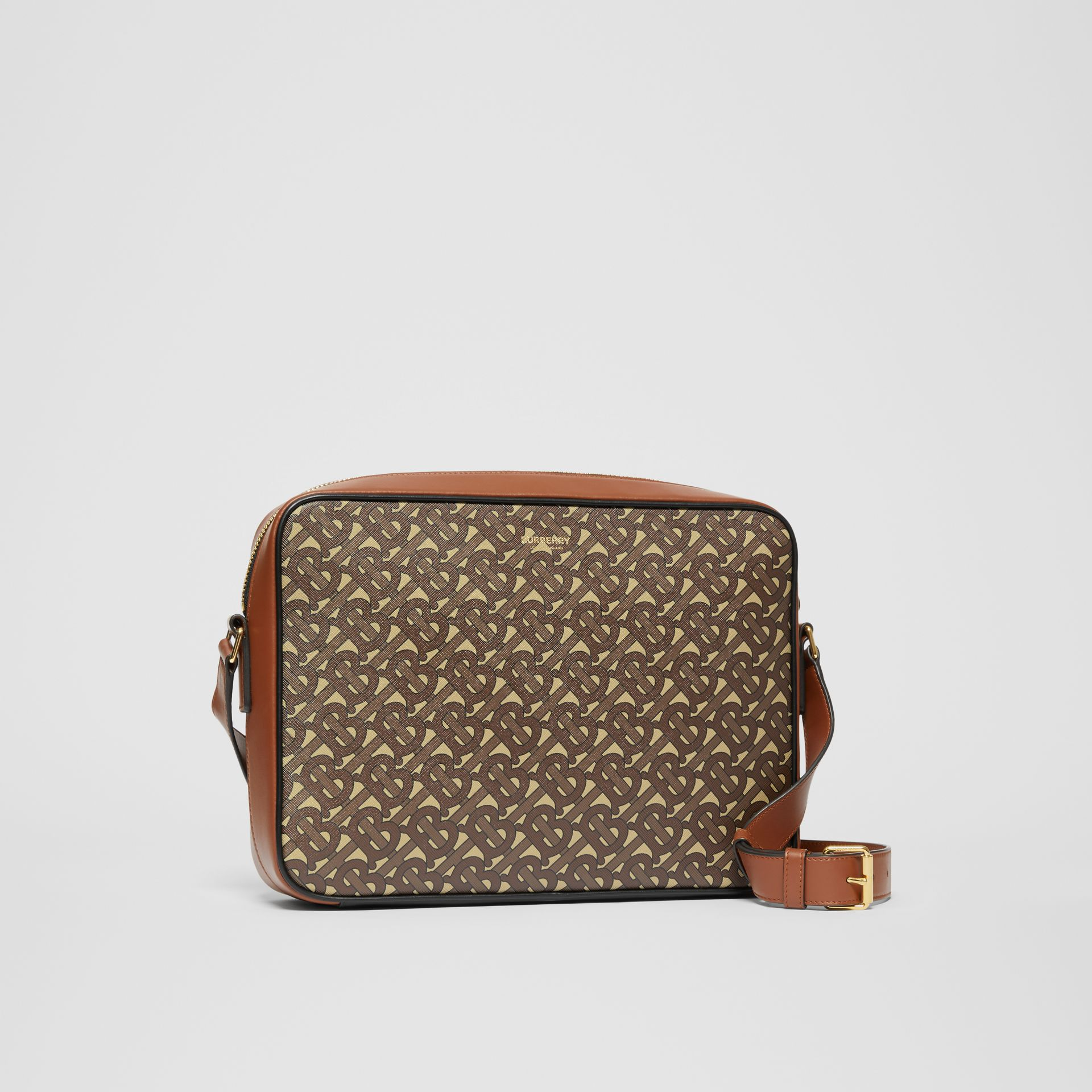 Monogram Print E-canvas Messenger Bag in Bridle Brown - Men | Burberry - gallery image 6