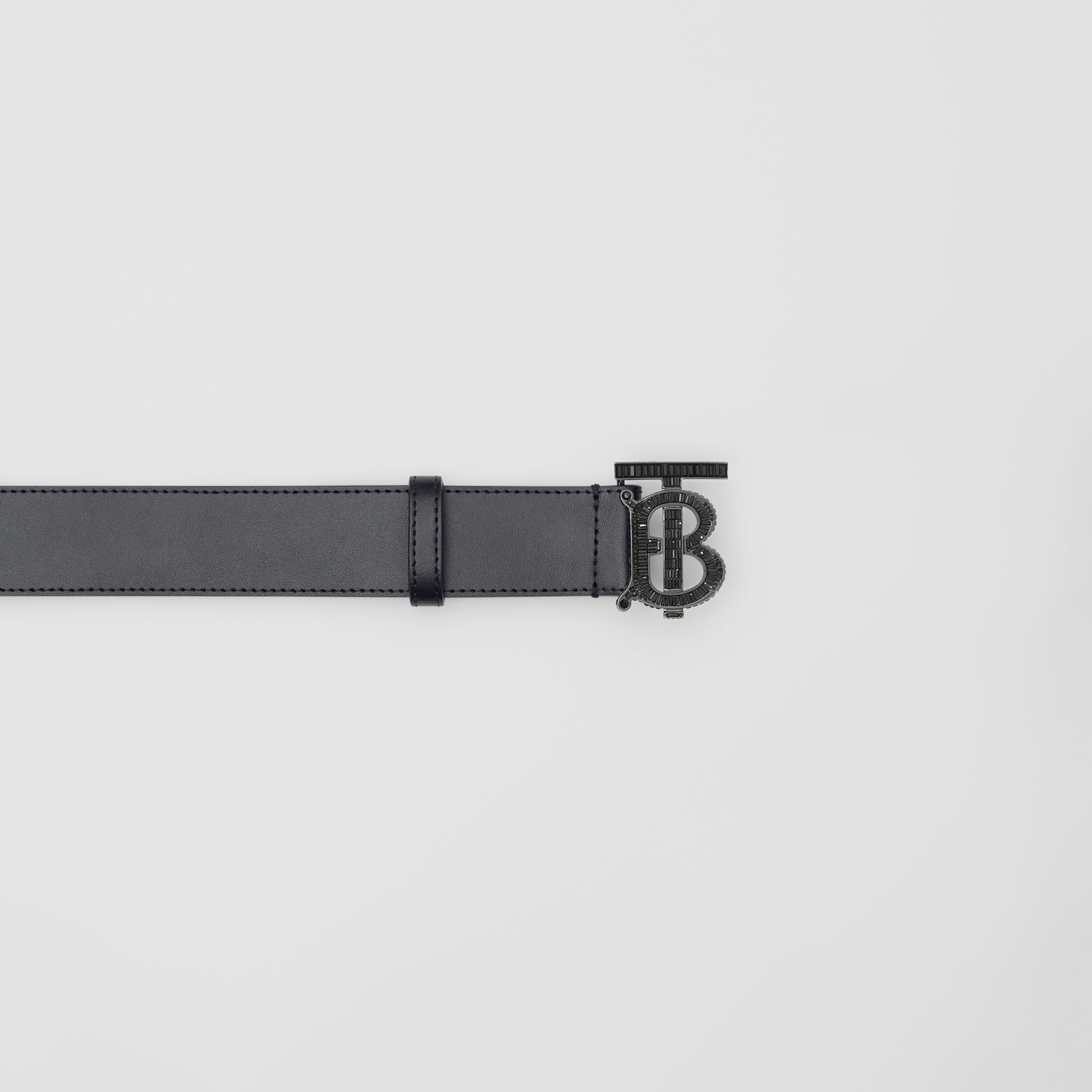 Crystal Monogram Motif Leather Belt in Black - Men | Burberry - 2