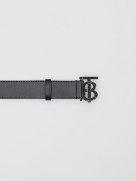 Cinturón en piel con monograma y cristales (Negro) - Hombre | Burberry - cell image 1