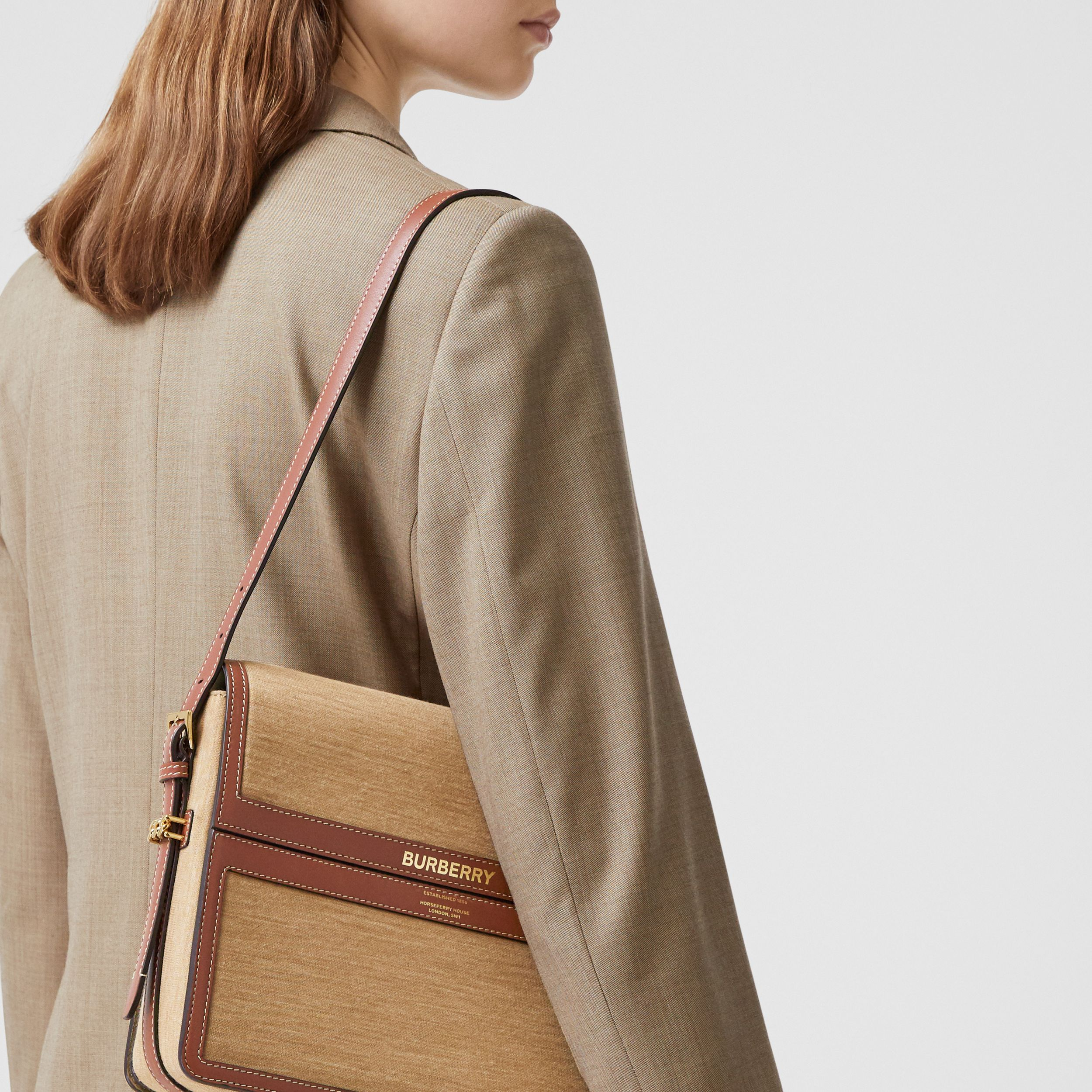 Large Jersey and Leather Grace Bag in Pecan Melange - Women | Burberry - 3