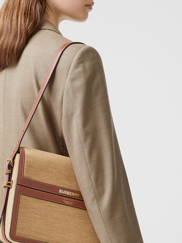 Large Jersey and Leather Grace Bag in Pecan Melange - Women | Burberry Canada - cell image 2