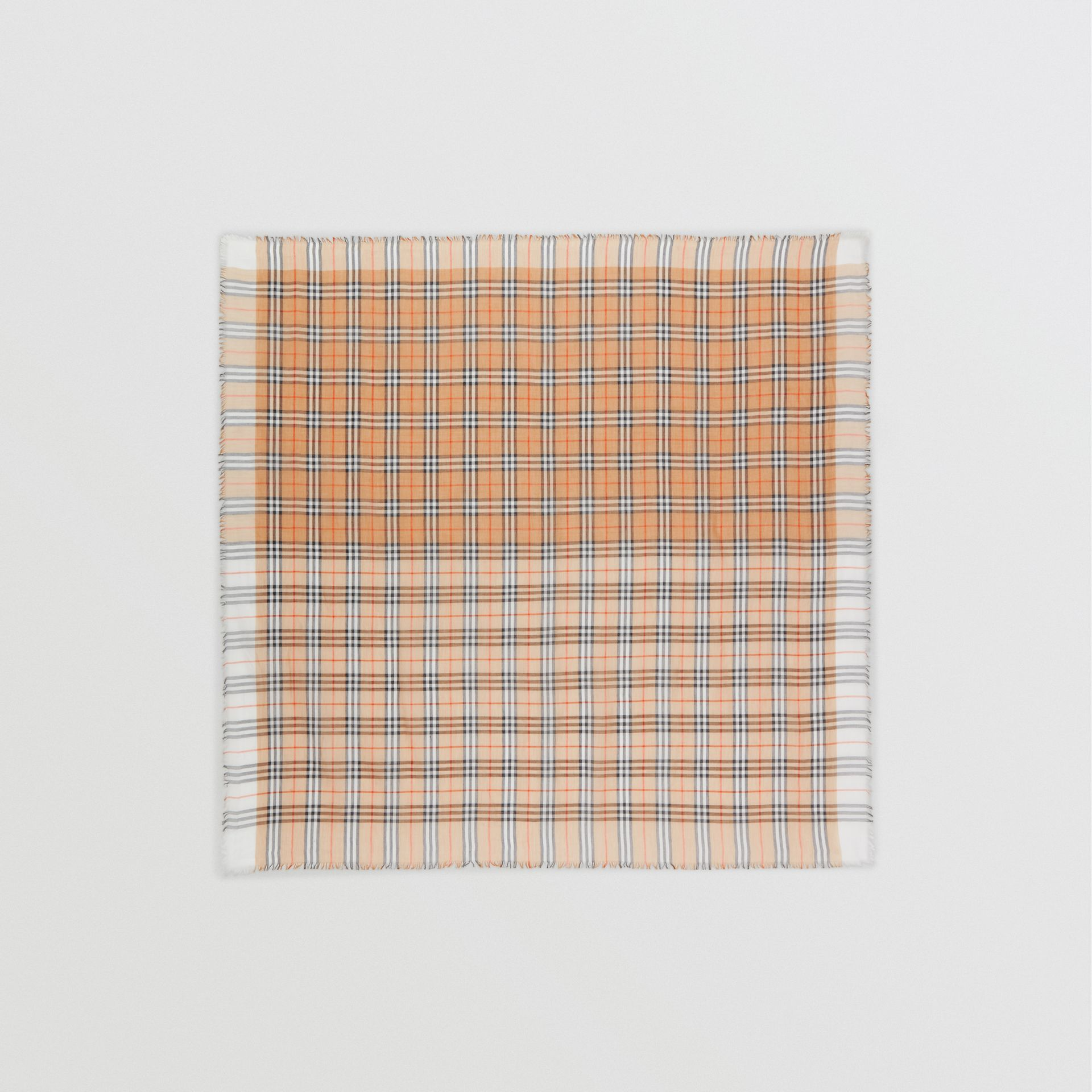 Two-tone Vintage Check Cotton Square Scarf in White | Burberry United States - gallery image 0