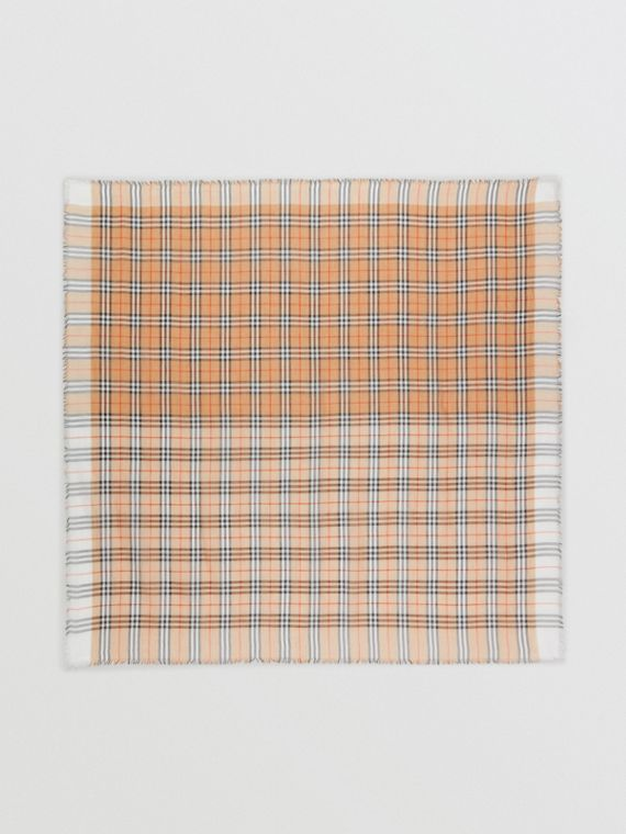 Two-tone Vintage Check Cotton Square Scarf in White