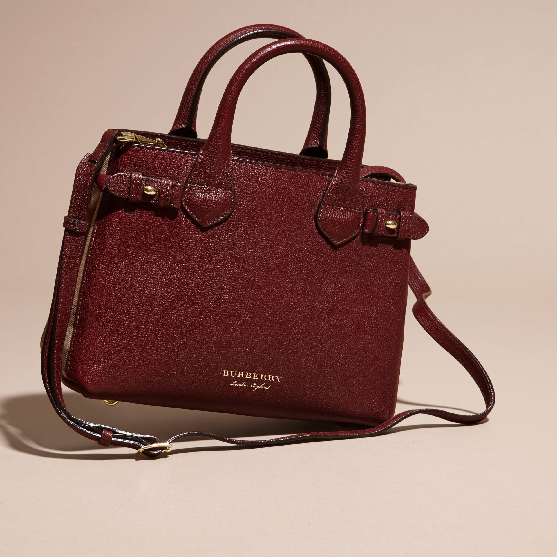 The Small Banner in Leather and House Check in Mahogany Red - Women | Burberry - gallery image 4