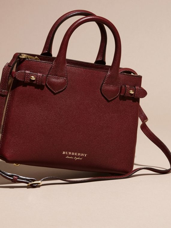 The Small Banner in Leather and House Check in Mahogany Red - Women | Burberry Singapore - cell image 3