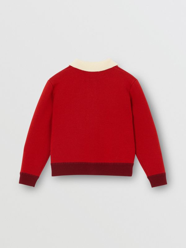 Logo Detail Merino Wool Blend Cardigan in Bright Red | Burberry - cell image 3