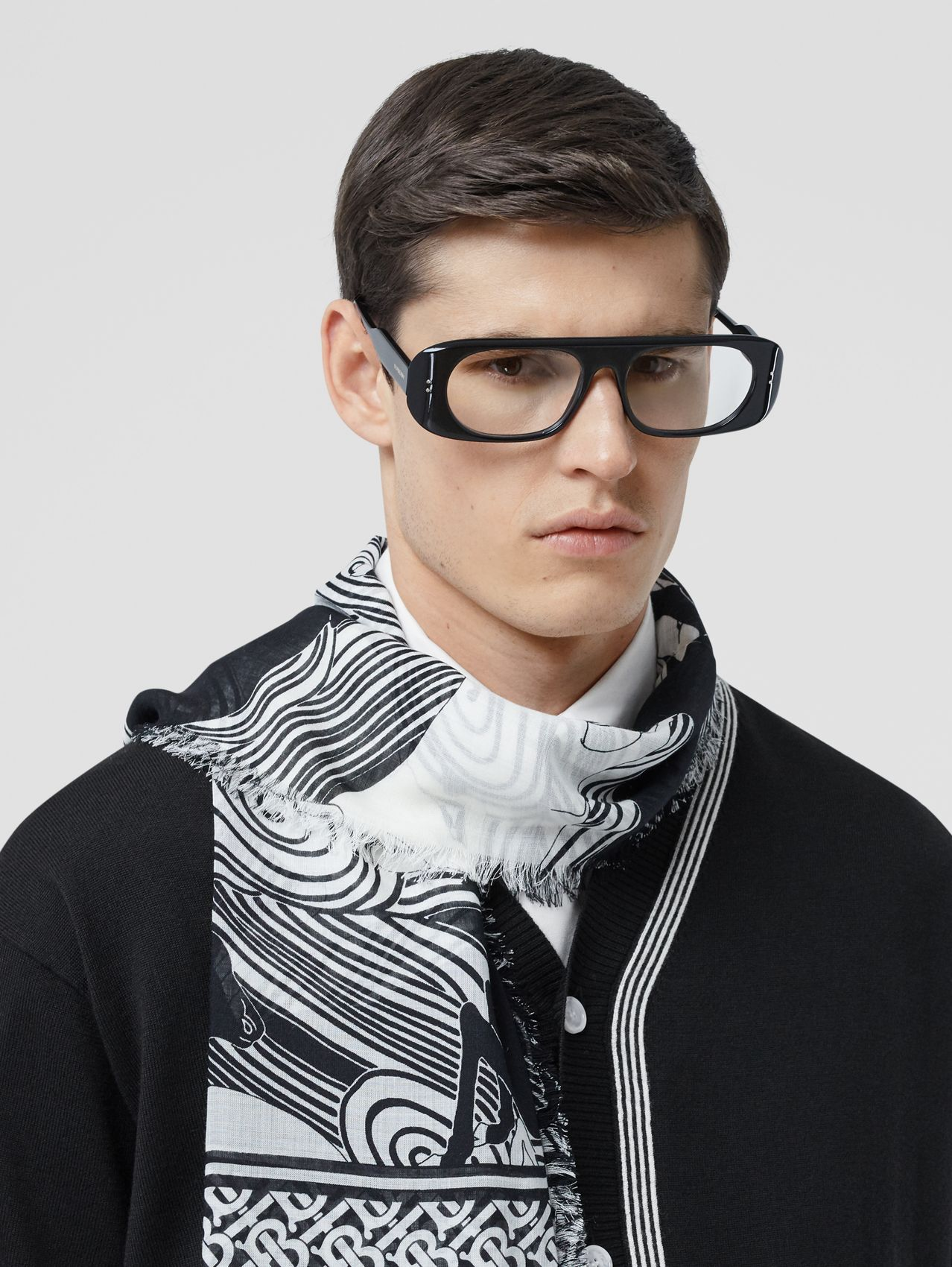 Deer and Monogram Print Wool Silk Scarf in Monochrome