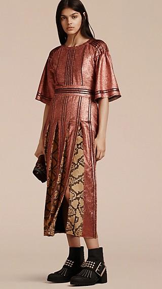 Long Lamé and Python Print Dress