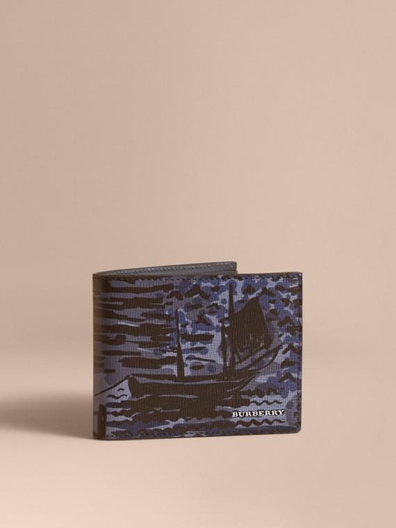 British Seaside Print Leather Bifold Wallet in Bright Navy