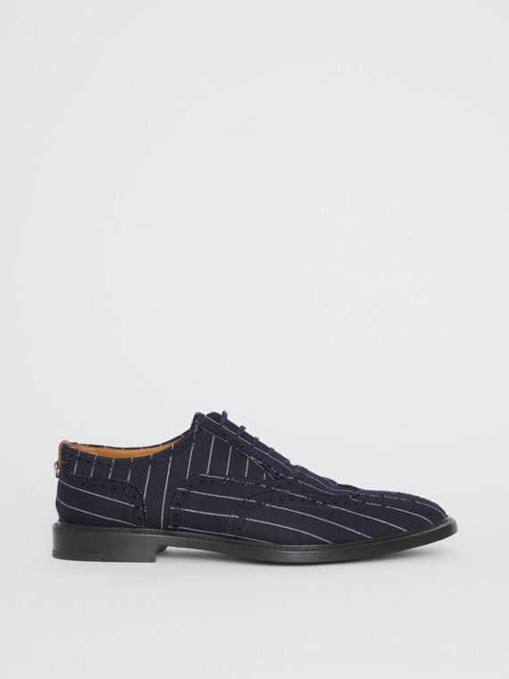 Pinstriped Wool Brogues in Dark Navy