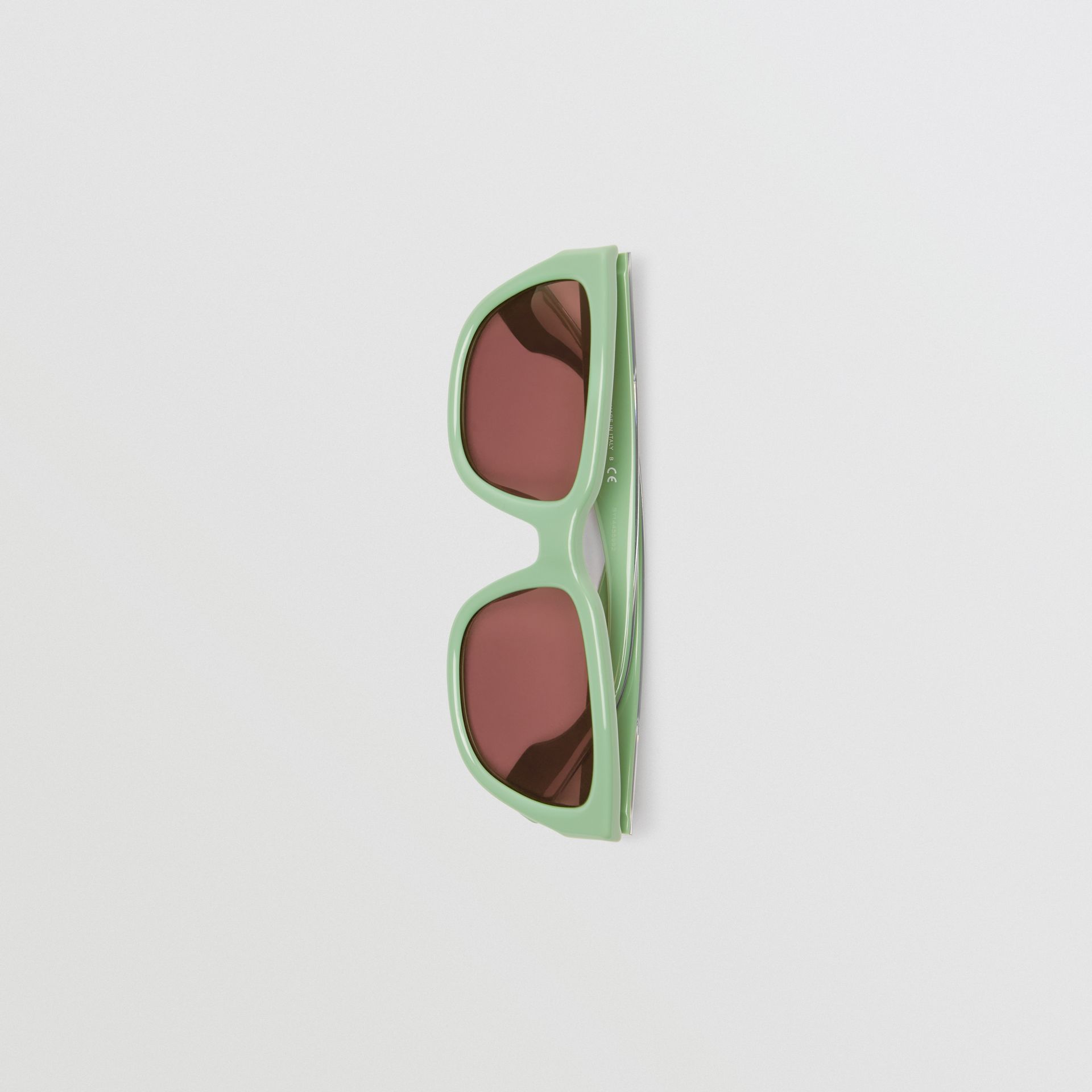 Square Frame Sunglasses in Mint Green - Women | Burberry - gallery image 3