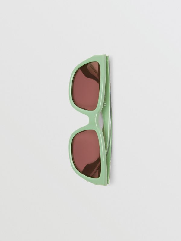 Square Frame Sunglasses in Mint Green - Women | Burberry - cell image 3